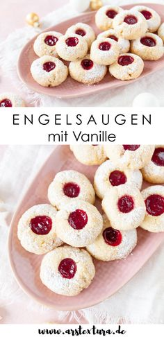 Bake angel eyes recipe: hussar fritters, ox eyes or angel eyes – the delicious cookies have many names and are super delicious. Cookie Recipes, Vegan Recipes, Vegan Food, Best Christmas Cookies, Doughnut, Food Inspiration, Bakery, Food And Drink, Yummy Food