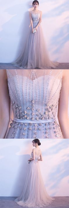 Prom Dress Princess, Gray tulle lace long prom dress, lace evening dress Shop ball gown prom dresses and gowns and become a princess on prom night. prom ball gowns in every size, from juniors to plus size. Elegant Bridesmaid Dresses, Gold Prom Dresses, Tulle Prom Dress, Homecoming Dresses, Tulle Lace, Dress Lace, Pageant Dresses For Teens, Cheap Evening Dresses, Prom Dresses For Sale