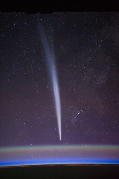 Comet Lovejoy | ISS030-E-015479 (22 Dec. 2011) --- Comet Lovejoy is visible near Earth's horizon in this nighttime image photographed by NASA astronaut Dan Burbank, Expedition 30 commander, onboard the International Space Station on Dec. 22, 2011.