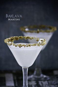 Baklava Martini  (•2 ounces hazelnut liqueur  •2 ounces honey liqueur  •4 ounces half-half  •¼ teaspoon orange blossom water) #famfinder
