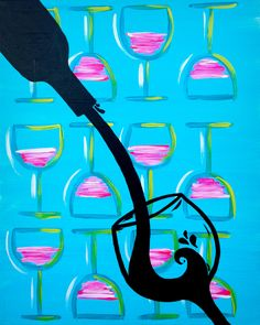 canvas painting idea - bright colored background and black silhouette of wine being poured into glass.