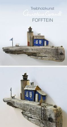 Christine Grandt - Driftwood Art: Maritime Gifts, Miniatures and Sculptures . Christine Grandt – driftwood art: maritime gifts, miniatures and sculptures for decoration, as wa Driftwood Projects, Driftwood Art, Driftwood Sculpture, Wooden Table Diy, Wood Table, Beach Crafts, Diorama, Miniature Houses, Wood Toys