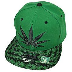 Hemp Weed Cali Hat Snapback Cap Ganja Marijuana Stoner Leaf Adjustable