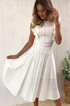 Chiffon Bridesmaid Dresses Semi Formal Wedding Attire Tdr Bridal White Maxi Sundress - Women's style: Patterns of sustainability Elegant Dresses, Pretty Dresses, Casual Dresses, White Dress Casual, White Summer Dresses, White Maxi, White Sundress, White Dress Outfit, White Ruffle Dress
