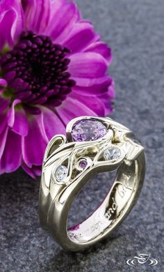 Violet Sapphire White Gold Wrap Engagement Ring Green Lake Jewelry