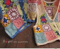 LA CASITA DE MABELY: genial ,idea, color cuadros de la abuela de la web Easy Crochet, Crochet Hooks, Knit Crochet, Crochet World, Crochet Hippie, Granny Square, Crochet Motifs, Old Clothes, Crochet Jacket