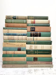 Green Sand Grey ~ 28 Vintage Books ~Pastel Books by beachbabyblues, $275.00