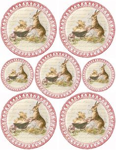 Sweet Bunny & Chicks ~ free round graphic collage