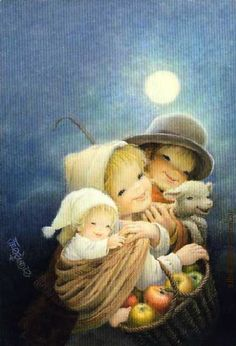 Mary Christmas, Christmas Nativity, Vintage Christmas Cards, Christmas Angels, Christmas Art, Vintage Cards, Christmas Themes, Christmas Paintings On Canvas, Kids Poems