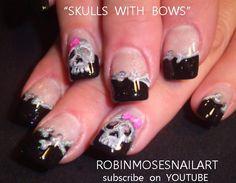 skulls with bows tutorial by robinmoses - Nail Art Gallery nailartgallery.nailsmag.com by Nails Magazine www.nailsmag.com #nailart
