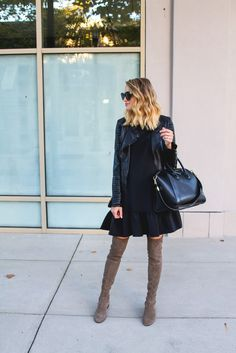 Drop Waist Dress, Leather biker jacket, suede over the knee boots, Givenchy Antigona,