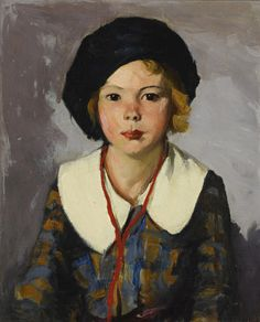 """""""The Blue Tam,"""" Robert Henri, oil on canvas laid down on cradled panel, 24 x private collection. American Realism, American Artists, William Glackens, Ashcan School, Robert Henri, Most Famous Artists, Winslow Homer, Portrait Art, Portrait Paintings"""