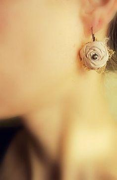 Rosette fabric earrings via Etsy.