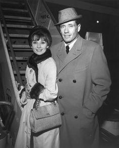 Audrey Hepburn with Mel Ferrer At Idlewild Airport in New York, December 1959.