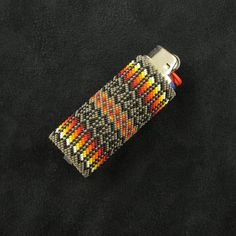 Native American Gourd Stitch | Beaded Khaki Lighter Case Native American Beadwork