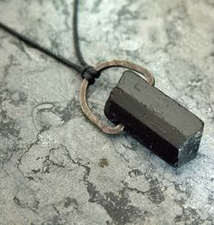 Large Black Tourmaline Crystal Pendant Necklace with oxidized silver.