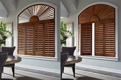 Shutter - Louvers - plantation shutters, vinyl shutters, faux wood shutters are for interior and exterior use. White plantation window shutters are popular, but they come in a variety of colors and wood tones. Custom plantation shutters for arch windows, eyebrow windows and other specialty window shapes are available. Plantation shutters cost vary. Real wood, faux, composite, etc.