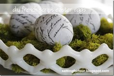 EASY and inexpensive DIY French Script Easter Eggs with Mod Podge & paper! Gorgeous Spring and Easter decor for your mantels, tablescapes,bowls and vases! Diy Arts And Crafts, Crafts To Make, April Easter, Happy Easter, French Script, Summer Crafts, Holiday Crafts, Holiday Ideas, Coloring Easter Eggs