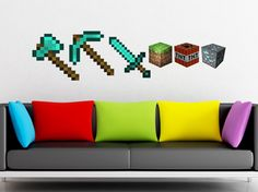Minecraft Torch HUGE Peel and Stick REUSEABLE Wall Sticker Wall Decal Wall Mural Wall Art. $12.99, via Etsy.