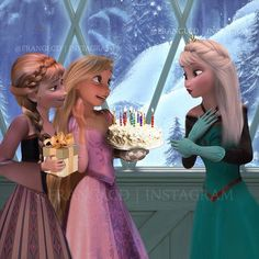 Rapunzel and Anna giving Elsa her birthday presents