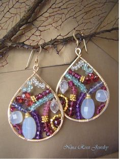 Glistening Mosaic Earrings by Nina Rossi Jewelry Artist Statement : Gold filled thick wire TEARDROPS flatten and filled with VIBRANT . Wire Wrapped Earrings, Beaded Earrings, Earrings Handmade, Chandelier Earrings, Hoop Earrings, Red Chandelier, Punk Earrings, Glass Earrings, Stud Earring
