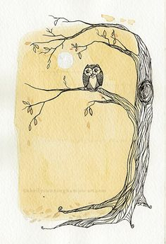 Tea for the Owl in the moonlight - 5x7 tea & ink illustration print by Shelly Cunningham