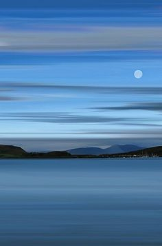 Long exposure of the moon over Oban Bay just before sunrise. Blue Fin Art