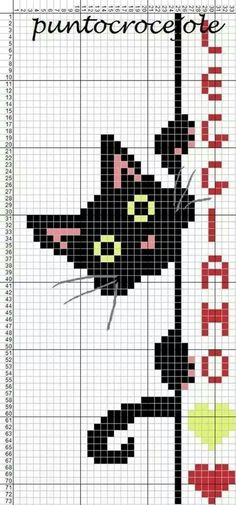 Crochet Cat Chart Punto Croce Ideas For 2019 Crochet Bookmarks, Cross Stitch Bookmarks, Cross Stitch Charts, Cross Stitch Designs, Cross Stitch Patterns, Marque-pages Au Crochet, Chat Crochet, Tapestry Crochet, Free Crochet
