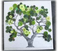 Button Tree Canvas Picture Xmas present in Art, Canvas/ Giclee Prints | eBay