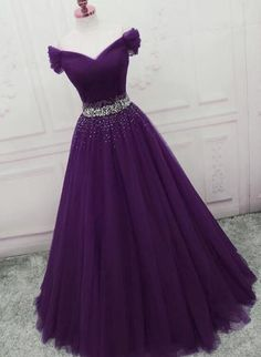 Dark Purple Tulle Long Off the Shoulder Party Dress, Long Prom Dress Dark Purple Tulle Long Off the Shoulder Party Dress, Long Prom Dress Women's A-line Tulle Prom Dresses Off The Shoulder Formal Evening Ball Gown Purple Prom Dress, Ball Gown, Evening Graduation Dresses Long, Junior Prom Dresses, Pretty Prom Dresses, Beautiful Dresses, Pageant Dresses, Dress Prom, Homecoming Dresses Long, Beaded Prom Dress, Gorgeous Dress