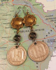 Russia, Vintage Coin Earrings - - Back in the USSR - - 1950s - CCCP - Kopek - Mixed Metal - Travel Gifts - International. via Etsy.