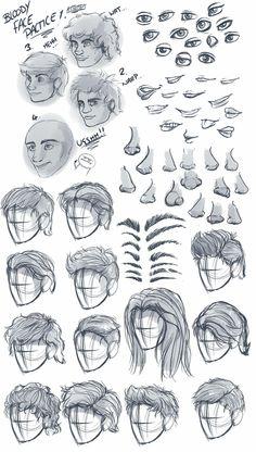 Drawing Male Hair, Guy Drawing, Drawing Poses, Anime Hair Drawing, Drawing Male Anatomy, Hair Reference, Art Reference Poses, Drawing Hair Tutorial, Face Drawing Tutorials