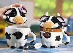 Black & White Cow Ceramic Mugs With Lids & Spoons By Collections Etc Cow Kitchen Decor, Cow Decor, Kitchen Themes, Ceramic Mug With Lid, Ceramic Spoons, Ceramic Mugs, Cow Ornaments, White Cow, Black White