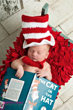 Sleeping Dr. Suess fan in #CatInTheHat knits.  Jennifer Jayne #Photography    I    propinsanity.com