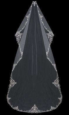 regal Cathedral Mantilla Wedding Veil with Beaded Silver Embroidery - Affordable Elegance Bridal - Wedding Attire, Wedding Gowns, Vintage Wedding Veils, Long Wedding Veils, 1930s Wedding, Wedding Venues, Timeless Wedding, Chapel Wedding, Wedding Ceremony