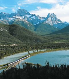Sit back and relax with a train journey through the Rocky Mountains in Canada.
