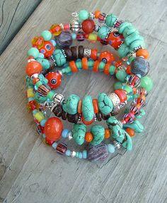 Layered Turquoise Bracelet, Southwest Bracelet, Colorful Bracelet, Stone Bracelet
