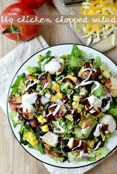 BBQ Chicken Chopped Salad is a party on a plate! This filling entree salad is full of bold, BBQ flavors.   iowagirleats.com