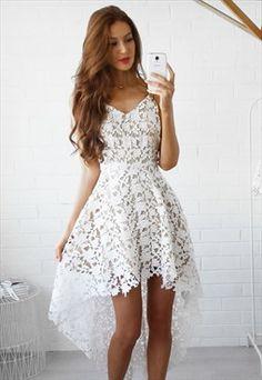 Delicate white lace hilo dress