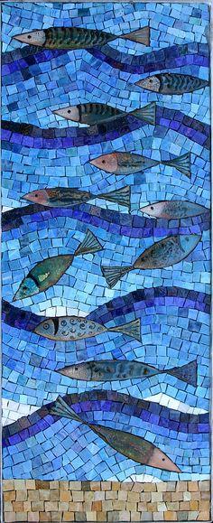 Enamel Fish - Enamels, Mexican Smalti martin cheek glass art: using glass fusions in mosaic art work, private commissions of mosaic artwork, community mosaics, Martin Cheek workshops and classes mosaic art Mosaic Crafts, Mosaic Projects, Mosaic Designs, Mosaic Patterns, Arte Fashion, Golf Fashion, Mosaic Animals, Mosaic Artwork, Mosaic Glass Art
