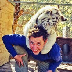 Me with a baby white tiger.