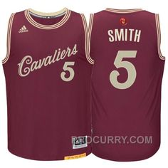 a3e3b14987a7 NBA 2015-16 Season Cleveland Cavaliers  5 J.R. Smith Christmas Day Red  Jersey