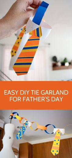Easy craft for kids: DIY Tie Garland Bunting Decorations for Father's Day #colorize #fathersday @astrobrights