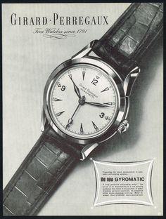 Vintage GIRARD Perregaux Automatic Wrist Watch Art Print Ad. #gp #girardperregaux #ad #ads