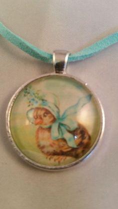 Super Cute Spring/Easter Necklace ♡ handmade ♡ Vintage bird w/ bonnet /aqua in Jewelry & Watches   eBay
