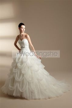 Fabulous A-line Sweetheart Floor-length Chapel Pick-ups Wedding Dresses(Free Shipping)