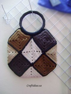 Crochet handbag from squares - Craft Ideas - Crafts for Kids ...
