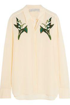 Stella McCartney | Embroidered silk crepe de chine shirt | NET-A-PORTER.COM