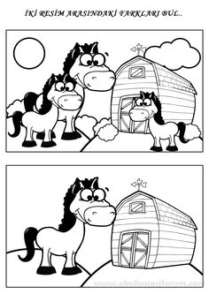 Fark bulma There are several differences that can be found between the two pictures of horses on a farm in this printable coloring page for children. Preschool Worksheets, Preschool Learning, Learning Activities, Preschool Activities, Writing Worksheets, Find The Difference Pictures, Horse Coloring Pages, Hidden Pictures, Activity Sheets
