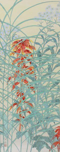 Fiore di autunno. Dipinta con pigmenti su carta e inchiostro. Firmato Shuso e sigillato. Takahashi Shuso (-1964 1900) è stato un pittore giapponese attivo durante il periodo Showa in Giappone. Ha studiato pittura sotto uno degli artisti di spicco del Giappone dellepoca Taisho e Showa in Giappone, Hayami Gyoshu. Shuso in primo luogo è stato selezionato alla Mostra darte Inten. La pittura e la pergamena è in buone condizioni. Il pezzo è accompagnato da portaoggetti originale con la firma…
